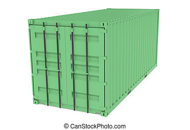 série, container., logistique, partie, vert, entrepôt