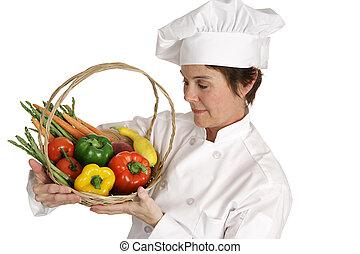 série, -, cozinheiro, legumes, inspeccionando