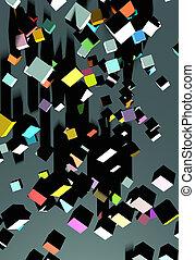 série, cubes tombants, 3d, terrestre
