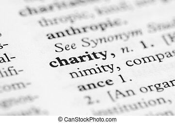série, -, dictionnaire, charité