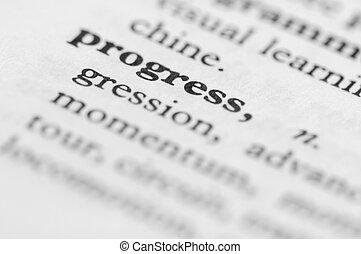 série, -, dictionnaire, progrès