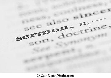 série, -, dictionnaire, sermon