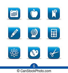 série, educação, no.6..smooth, ícones