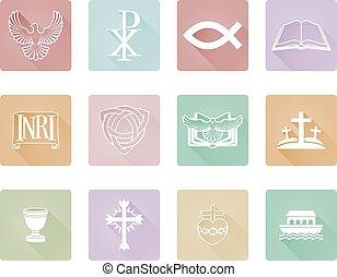 série, ensemble, chrétien, icône