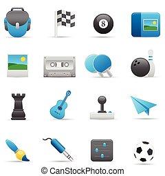 série, entretenimento, indigo, |, ícones