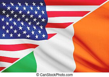 série, flags., a froissé, usa, ireland.