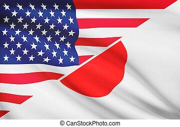 série, flags., japan., a froissé, usa