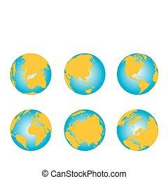 série, globe, 3d, carte, mondiale