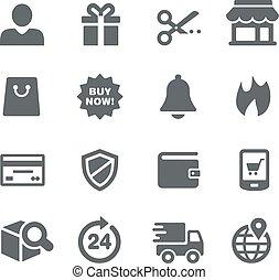 série, icônes, -, e-shopping, utilité