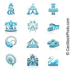 série, icônes, -, marin, attraction