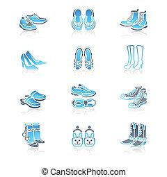 série, icônes, marin, |, chaussures