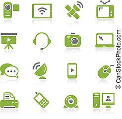 série, icônes, natura, -, communication
