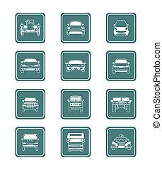 série, icônes, |, sarcelle, voitures