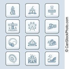 série, icônes, technologie, |, attraction