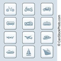 série, icônes, technologie, |, transport