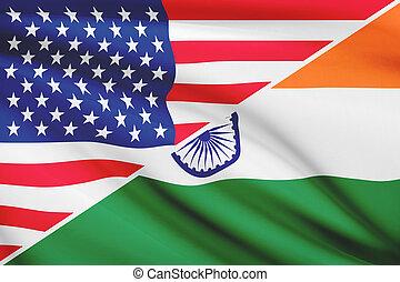 série, india., flags., a froissé, usa