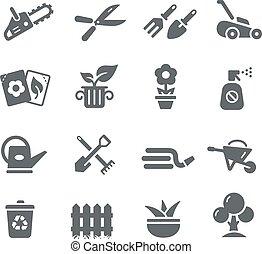 série, jardinagem, ícones, -, utilidade
