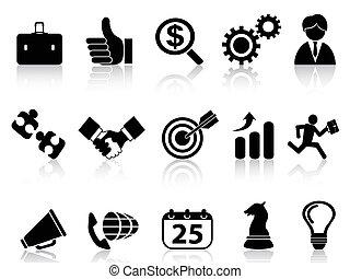 série, jogo, ícones negócio