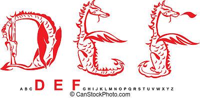 série, lettres, alphabet, dragons