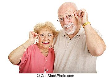 série, -, lunettes, optique, couple