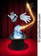 série, -, magia, fumaça, espelhos