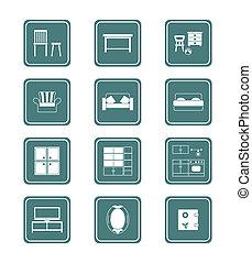 série, mobília, icons|, teal, lar