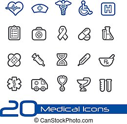 //, série, monde médical, ligne, icônes