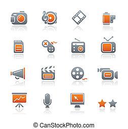 série, multimédia, graphite, /, icônes