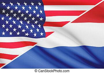 série, netherlands., flags., a froissé, usa