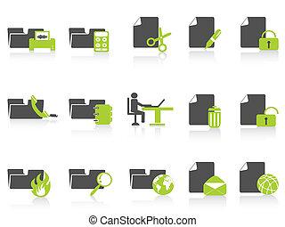 série, pasta, documento, verde, ícones