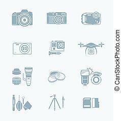 série, photographie, technologie, ||, icônes