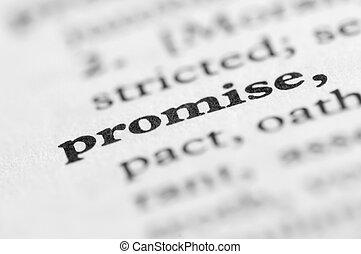 série, -, promessa, dicionário