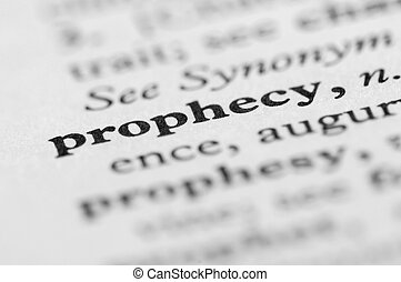 série, prophétie, -, dictionnaire