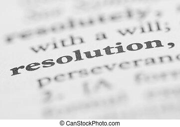 série, -, résolution, dictionnaire