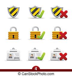 série, sécurité, -, icône