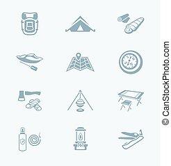 série, ||, technologie, camping, icônes