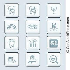 série, technologie dentaire, ||, icônes