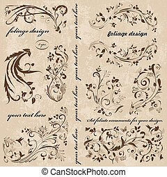 série tourbillon, ton, ornements, design.