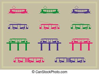 série, transporte, público, ícones