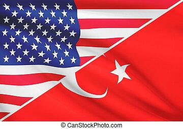 série, turkey., flags., a froissé, usa
