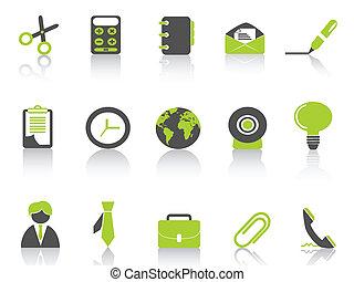 série, verde, escritório, ícone