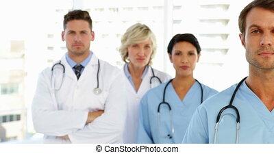 sérieux, équipe, monde médical