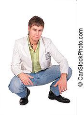 sérieux, assied, jeune homme