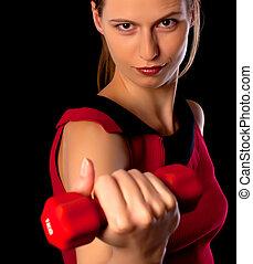 sérieux, athlète, haltère, projection, femme