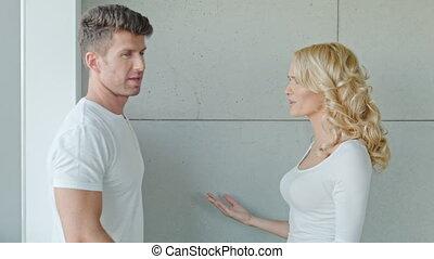 sérieux, couple, avoir, jeune, querelle