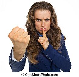 sérieux, femme, menacer, poing, business
