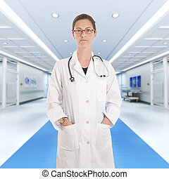 sérieux, hôpital, docteur féminin