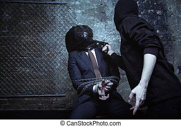 sérieux, handcuffed, homme affaires, danger