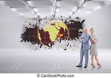 sérieux, homme affaires tient, nouveau dos, à, a, femme, contre, éclaboussure, projection, la terre, graphique