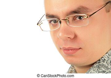 sérieux, homme, jeune, lunettes